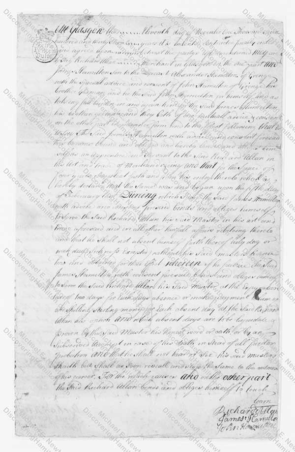 James Hamilton Indenture 1
