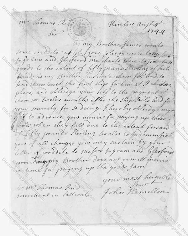 John Hamilton 1744