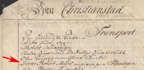 St. Croix 1765 Matrikel showing property on Kongens Gade (King's Street) that Beekman & Cruger would occupy the following year