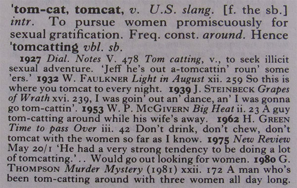 "Oxford English Dictionary: ""tom-cat, tomcat"""