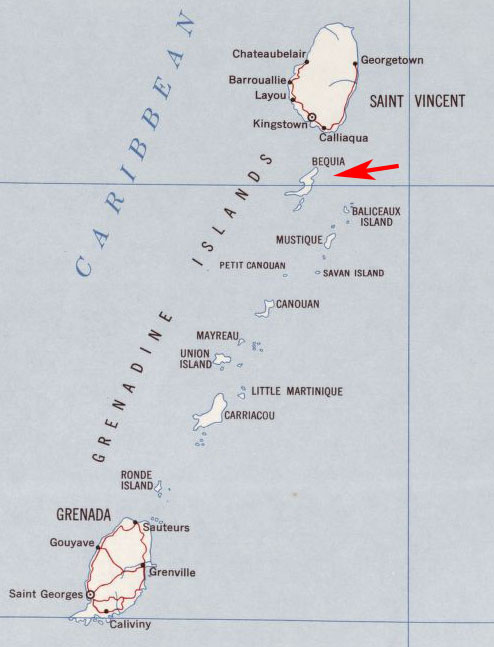 Bequia & Grenadine Islands map