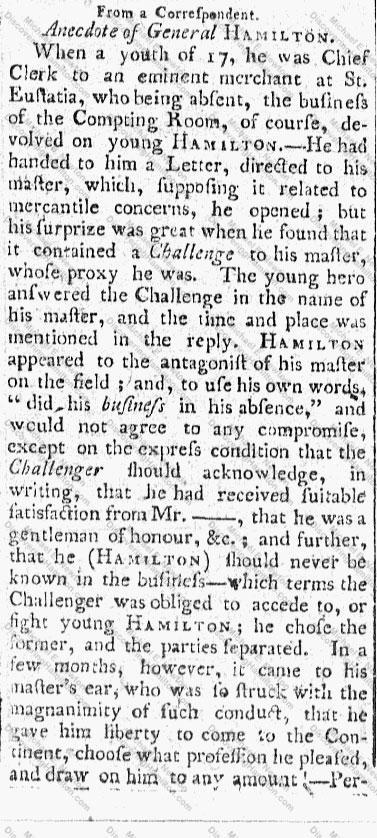 """Anecdote of General Hamilton"" Part 1"