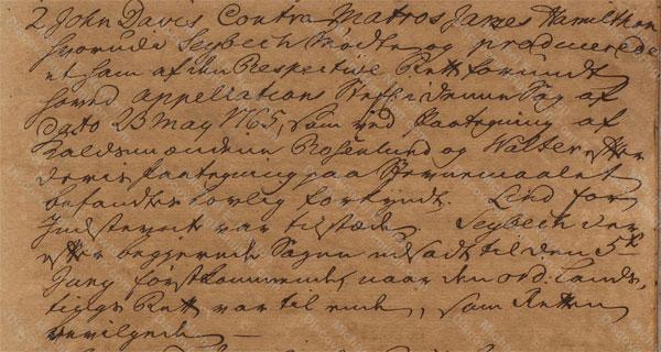 John Davis v. James Hamilton, May 29, 1765, 2