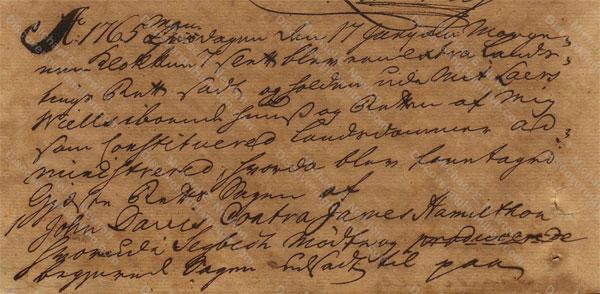 John Davis v. James Hamilton, June 17, 1765, 1