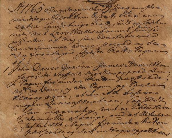 John Davis v. James Hamilton, June 19, 1765, 1