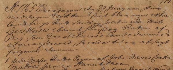 John Davis v. James Hamilton, June 29, 1765