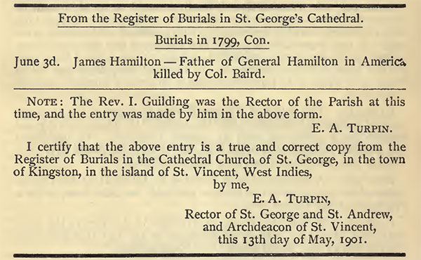 Death of James Hamilton, from the Register of Burial in St. George's Cathedral, St. Vincent, June 3, 1799