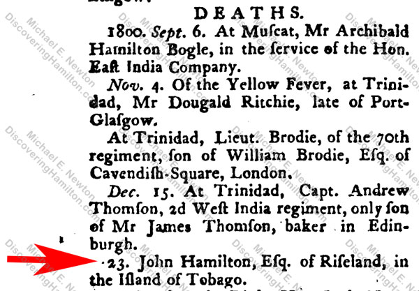 John Hamilton of Tobago death 1800