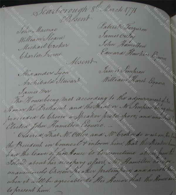John Hamilton, Council of Tobago