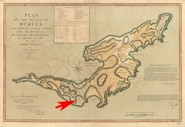 Plan of the Island of Bequia, map, pointing to No. 9