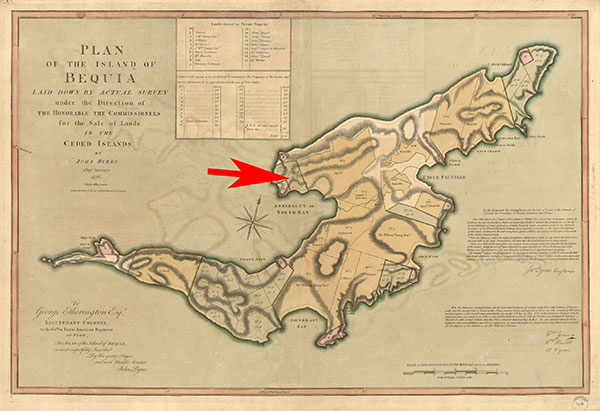 Plan of the Island of Bequia, map, pointing to James Hamilton's No. 18