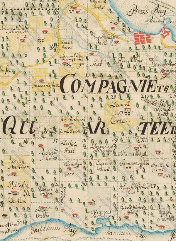 Johan Cronenberg map of St. Croix, ca. 1750, Company's Quarter