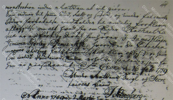 John Michael Lavien and Rachel Faucett divorce summons, February 1759