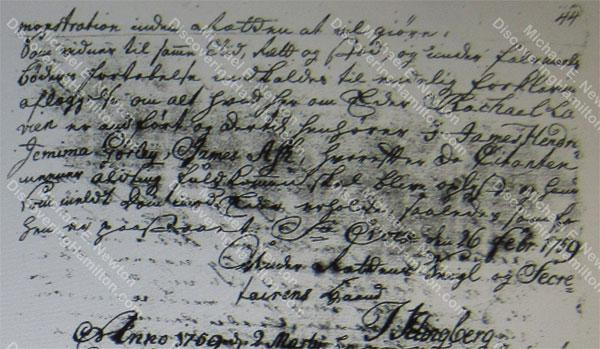 1759 Lavien divorce summons with Jemima Gorley