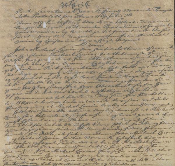 John Michael Lavien divorce ruling, June 25, 1759