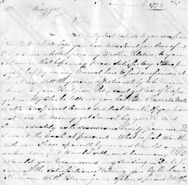 Nicholas Cruger to John Rengger, March 11, 1772