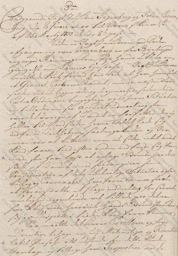 St. Croix Privy Council, July 30, 1750, about Johan Cronenberg
