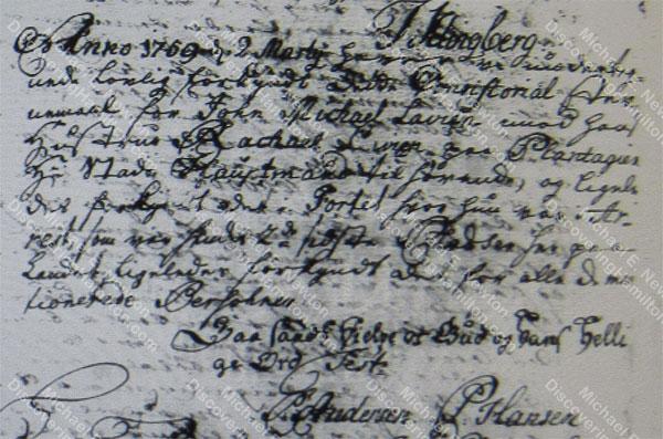 John Michael Lavien divorce summons Rachel Faucett, March 2, 1759