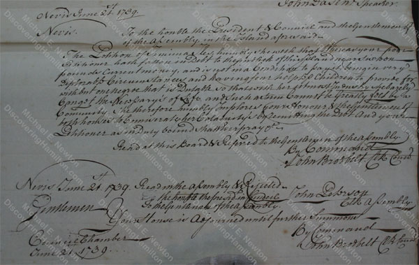 Jemima Faucett Iles petition, Nevis, Jun 21, 1739