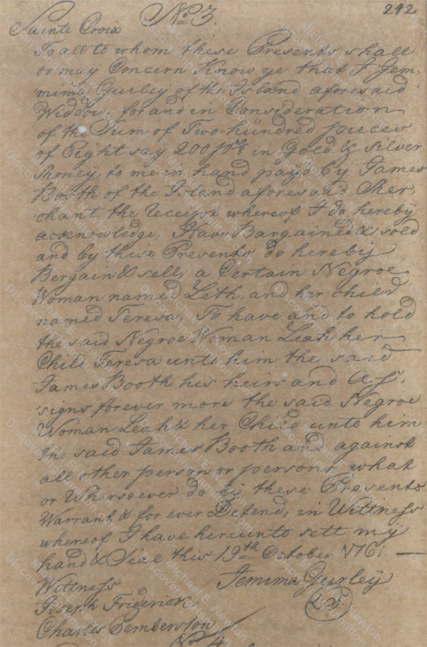 Jemima Faucett Iles Gurley sells two slaves, October 19, 1761