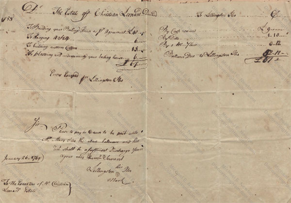 Lillingston Iles 1758 account submitted in 1769