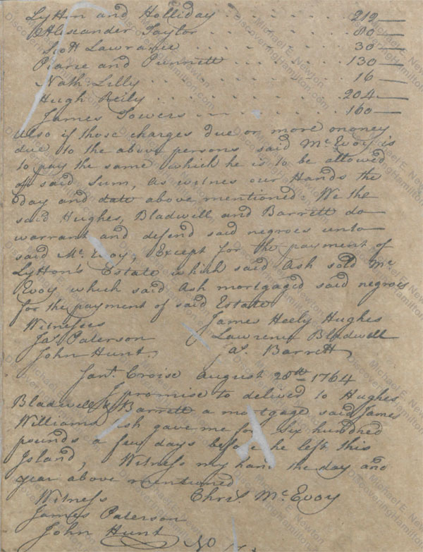 Attorneys for James Ash sell his slaves, August 28, 1764