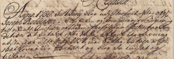 James Ash purchases No. 46 Queens Quarter, June 1750