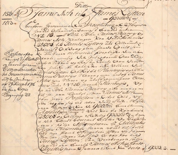 James Ash assumes 9,333 rigsdalers of debt from James Lytton in 1756