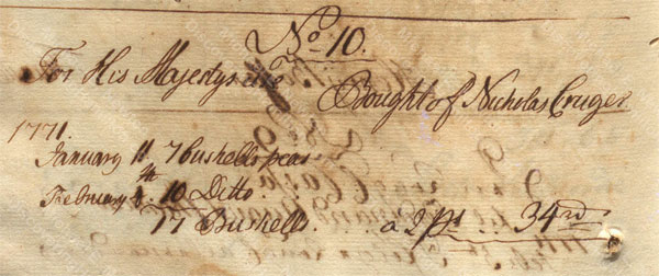 Alexander Hamilton receiving payment from St. Croix Privy Council for Nicholas Cruger, February 1771