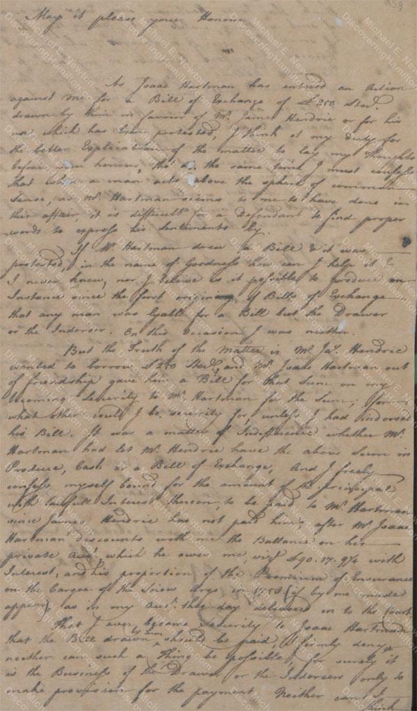 Alexander Moir statement regarding James Hendrie, August 24, 1761