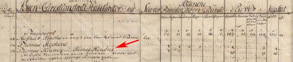 James Hendrie, St. Croix Matrikel 1758