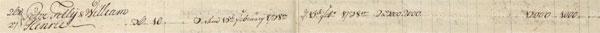 William Hendrie in 1746 St. Croix matrikel