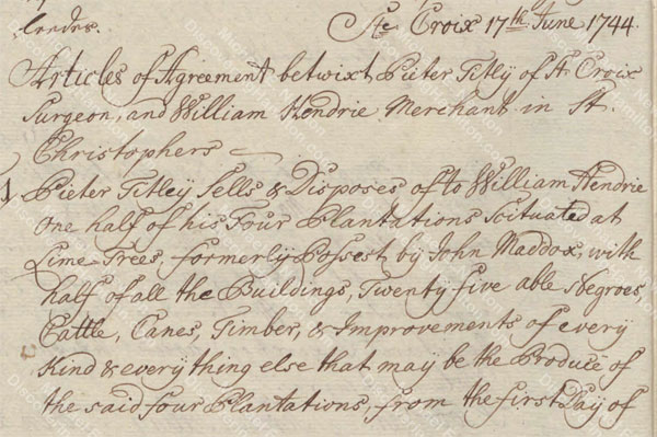 Article of Agreement between William Hendrie and Peter Titley, June 1744