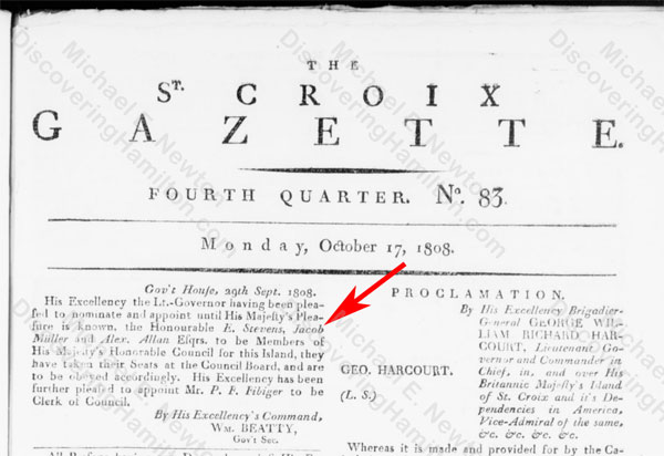 Edward Stevens appointed Member of His Majesty's Honorable Council for St. Croix, September 29, 1808