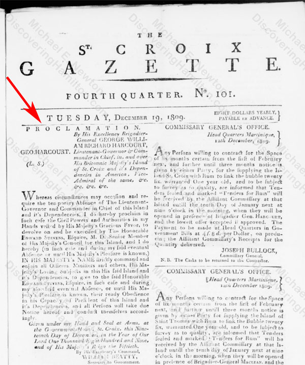 Edward Stevens appointed President of St. Croix, December 19, 1809