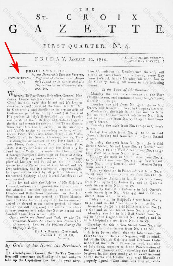 President Edward Stevens's proclamation, January 9, 1810