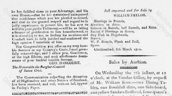 Edward Stevens praised for his job as President, March 3, 1810