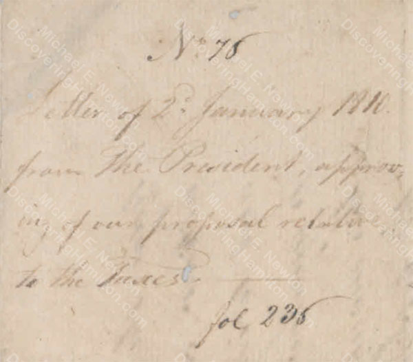 President Edward Stevens to the Burgher Council, January 2, 1810