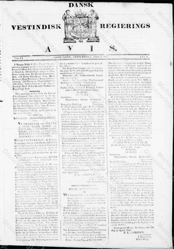 St. Croix returns to Denmark, April 1815