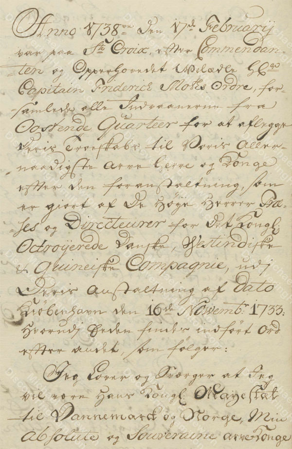 St. Croix Oaths of Allegiance, 1745