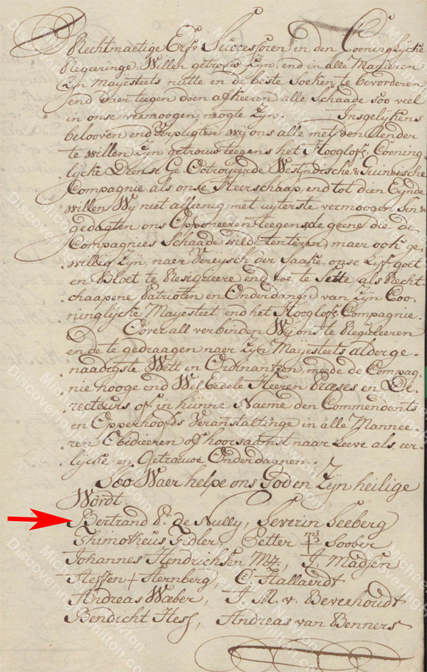 St. Croix Oaths of Allegiance, 1746