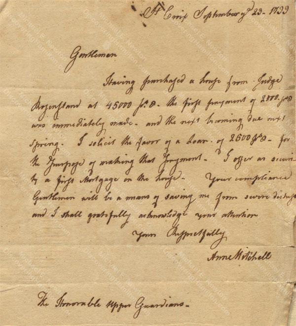 Anne Lytton Venton Mitchell, September 23, 1799