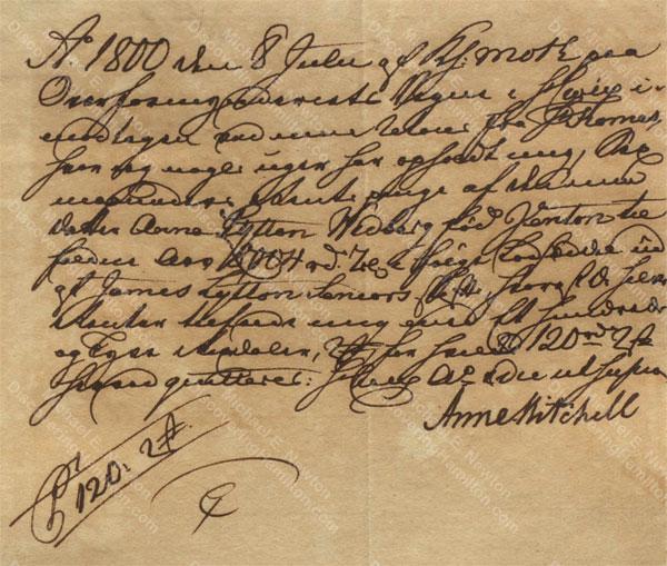 Anne Lytton Venton Mitchell, July 8, 1800