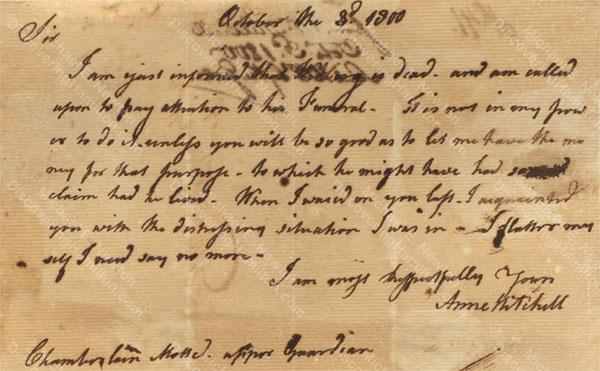 Anne Lytton Venton Mitchell, October 3, 1800