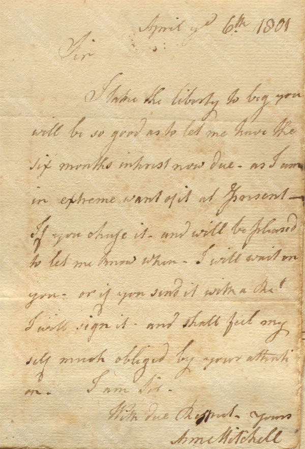 Anne Lytton Venton Mitchell, April 6, 1801