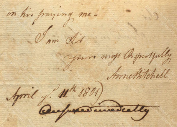 Anne Lytton Venton Mitchell, April 11, 1801