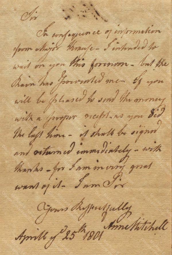 Anne Lytton Venton Mitchell, April 25, 1801