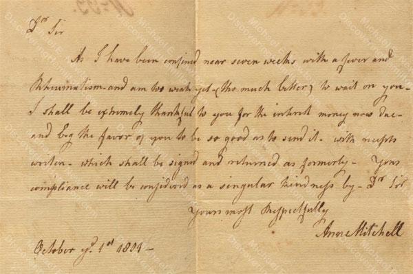 Anne Lytton Venton Mitchell, October 1, 1801