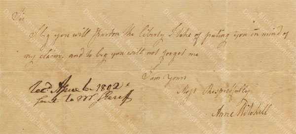 Anne Lytton Venton Mitchell, April 6, 1802