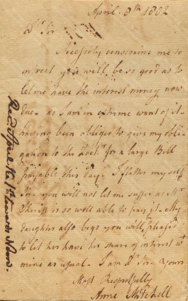 Anne Lytton Venton Mitchell, April 8, 1802
